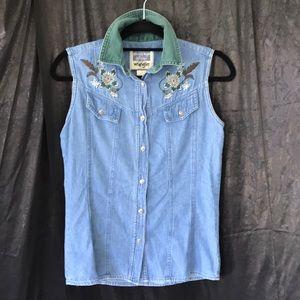 Wrangler Western embroidery jean sleeveless shirt